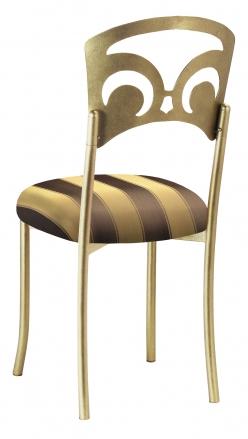 Gold Fleur de Lis with Gold & Brown Striped Cushion (1)