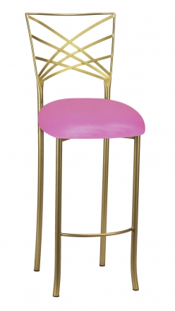 Gold Fanfare Barstool with Pink Glitter Knit Cushion (2)