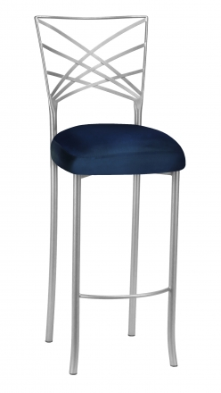 Silver Fanfare Barstool with Midnight Blue Taffeta Boxed Cushion (2)