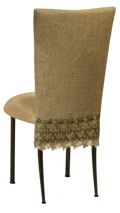 Burlap Flamboyant 3/4 Chair Cover with Camel Suede Cushion on Brown Legs (1)