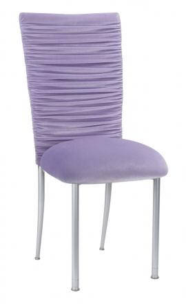 Chloe Lavender Velvet Chair Cover and Cushion on Silver Legs (2)