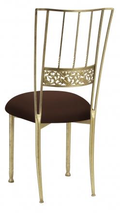 Gold Bella Fleur with Chocolate Stretch Knit Cushion (1)