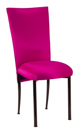 Fuchsia Satin Chair Cover with Bow Belt and Cushion on Brown Legs (2)