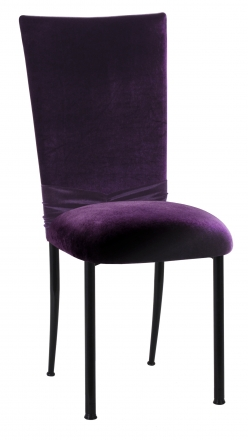 Deep Purple Velvet Chair Cover with Rhinestone Accent and Cushion on Black Legs (2)