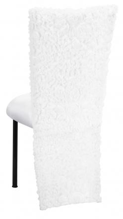 White Wedding Lace Jacket with White Stretch Knit Cushion on Black Legs (1)