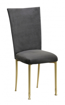 Charcoal Suede Chair Cover and Cushion on Gold Legs (2)