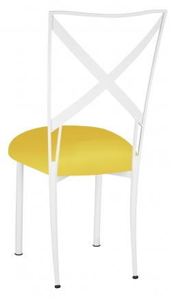Simply X White with Bright Yellow Stretch Knit Cushion (1)