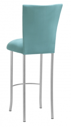 Turquoise Suede Barstool Cover and Cushion on Silver Legs (1)