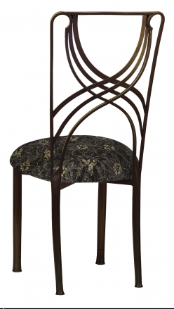 Bronze La Corde with Black Lace with Gold and Silver Accents over Black Knit Cushion (1)
