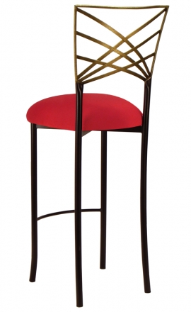 Two Tone Gold Fanfare Barstool with Red Stretch Knit Cushion (1)