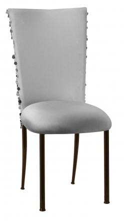 Silver Confetti Stretch Knit Chair Cover and Silver Stretch Knit Cushion on Brown Legs (2)