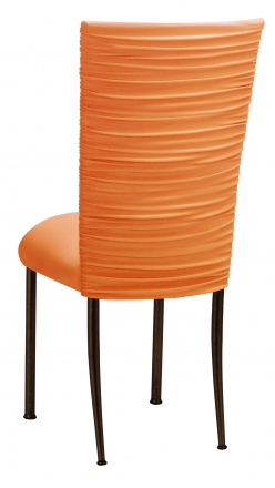 Chloe Tangerine Stretch Knit Chair Cover and Cushion on Brown Legs (1)
