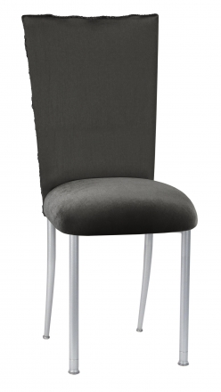 Pewter Circle Ribbon Taffeta Chair Cover with Charcoal Suede Cushion on Silver Legs (2)