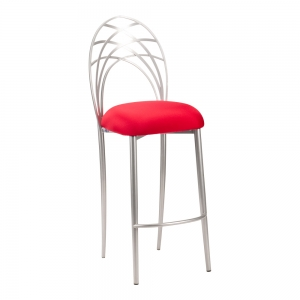 Silver Piazza Barstool with Red Stretch Knit Cushion (2)