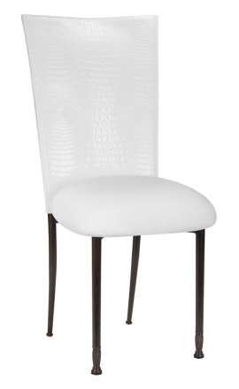 White Croc Chair Cover with White Stretch Knit Cushion on Mahogany Legs (2)