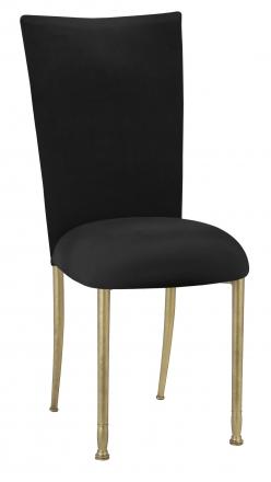 Black Velvet Chair Cover and Cushion on Gold Legs (2)