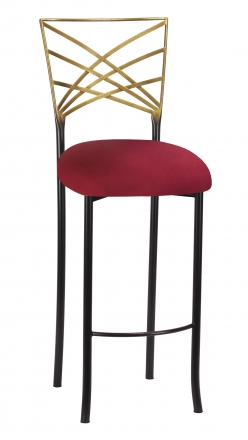 Two Tone Gold Fanfare Barstool with Cranberry Stretch Knit Cushion (2)
