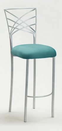 Silver Fanfare Barstool with Turquoise Suede Cushion (2)