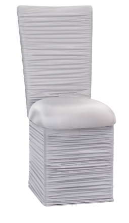 Chloe Silver Stretch Knit Chair Cover with Rhinestone Accent Band, Cushion and Skirt (2)