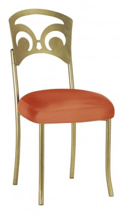 Gold Fleur de Lis with Orange Taffeta Boxed Cushion (2)
