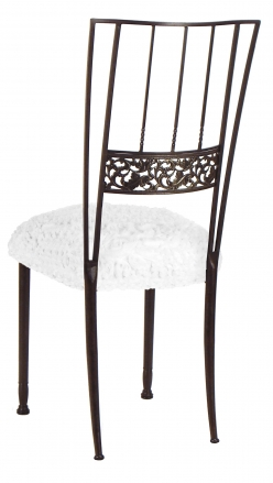 Mahogany Bella Fleur with White Wedding Lace over White Knit Cushion (1)