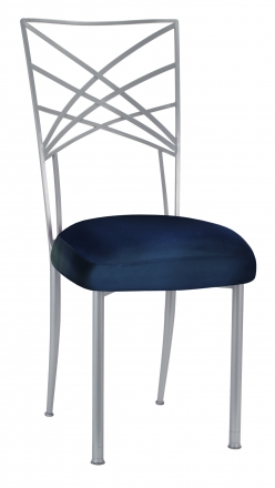 Silver Fanfare with Midnight Blue Taffeta Boxed Cushion (2)