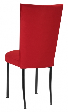 Rhino Red Suede Chair Cover and Cushion on Black Legs (1)