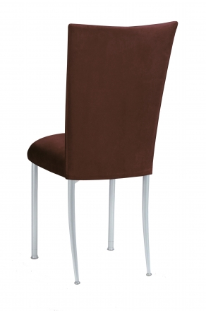 Chocolate Suede Chair Cover and Cushion on Silver Legs (1)
