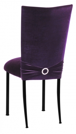 Deep Purple Velvet Chair Cover with Jewel Band and Cushion on Black Legs (1)