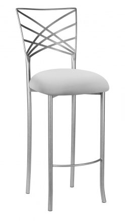 Silver Fanfare Barstool with Silver Stretch Knit Cushion (2)