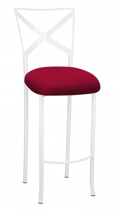 Simply X White Barstool with Cranberry Knit Cushion (2)