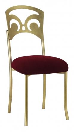 Gold Fleur de Lis with Cranberry Velvet Cushion (2)