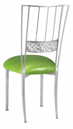 Silver Bella Fleur with Metallic Lime Knit Cushion (1)