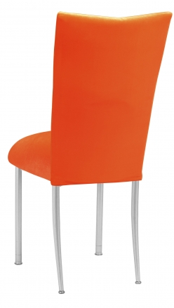 Orange Velvet Chair Cover and Cushion on Silver Legs (1)