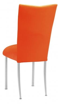 Orange Velvet Chair Cover and Cushion on Silver Legs (1)
