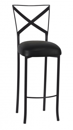 Blak. Barstool with Black Leatherette Boxed Cushion (2)