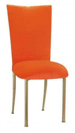Orange Velvet Chair Cover and Cushion on Gold Legs (2)