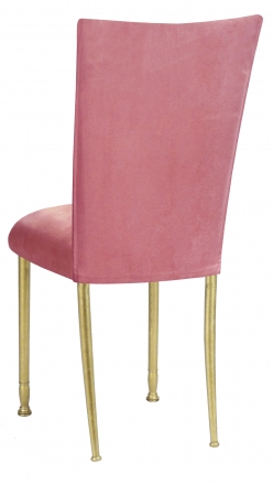 Raspberry Suede Chair Cover and Cushion on Gold Legs (1)