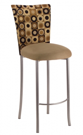 Concentric Circle Barstool Cover with Camel Suede Cushion on Silver Legs (2)