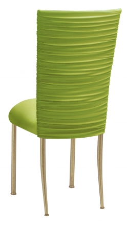Chloe Lime Stretch Knit Chair Cover and Cushion on Gold Legs (1)