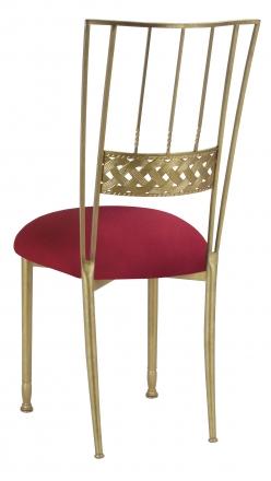 Gold Bella Braid with Cranberry Stretch Knit Cushion (1)