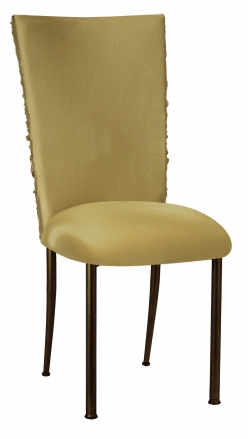 Gold Demure Chair Cover with Jewel Band and Gold Stretch Knit Cushion on Brown Legs (2)
