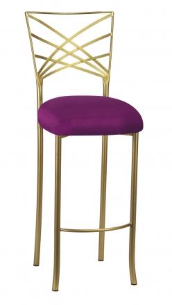 Gold Fanfare Barstool with Orchid Taffeta Boxed Cushion (2)