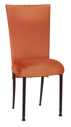 Orange Taffeta Scales 3/4 Chair Cover with Boxed Cushion on Mahogany Legs (2)