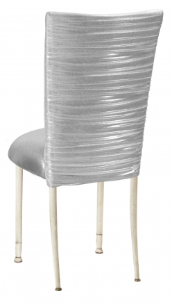 Chloe Metallic Silver on White Foil Chair Cover and Cushion on Ivory Legs (1)