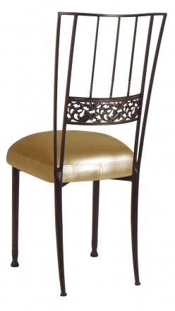 Mahogany Bella Fleur with Gold Leatherette Cushion (1)
