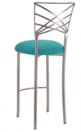 Silver Fanfare Barstool with Turquoise Suede Cushion (1)