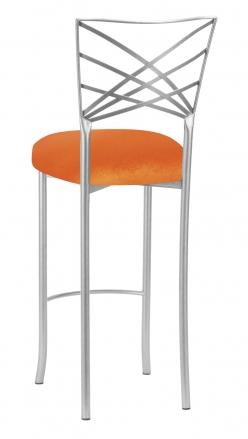 Silver Fanfare Barstool with Orange Velvet Cushion (1)