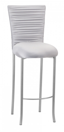 Chloe Silver Stretch Knit Barstool Cover with Rhinestone Accent Band and Cushion on Silver Legs (2)