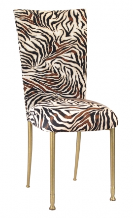 Zebra Stretch Knit Chair Cover and Cushion on Gold Legs (2)